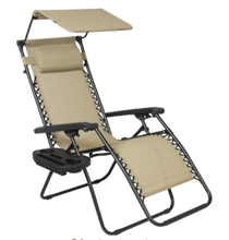 Outdoor Folding Zero Gravity Reclining Lounge Chair with Canopy, Neck Pillow and Side Tray