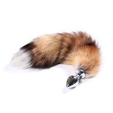 Hot selling sex cosplay fox tail stainless steel anal plug sex toys
