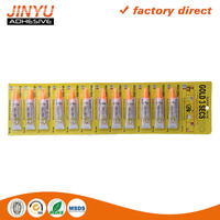 Jinyu hot sale factory price oem odm welcome 3 seconds quick dry 3g 12pcs straight card super glue