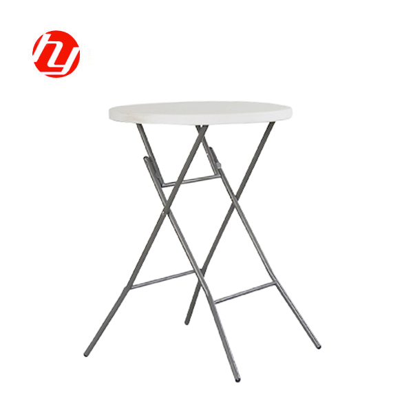 R80B Outdoor Camping HDPE Plastic Round Folding High Bar Table