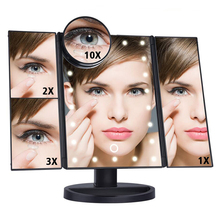 Chinese Factory Price Touch Screen Three Sides Foldable LED Lighted Vanity Makeup Mirror with 1x/2x/3x Magnification