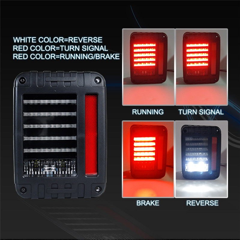 USA Euro Type LED Jeep Tail Lights for Jeep Wrangler JK 07-16 up