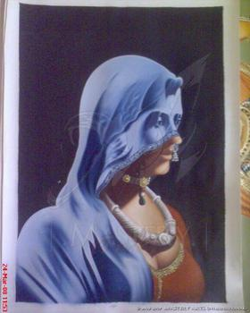 Veiled Rajput Lady From Rajasthan, India. (Handpainted Oil Painting)