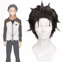 Alibaba Manufacturer Anime Re: Life in a Different World from Zero Subaru Natsuki Styled Wig Short Black Grey Mixed Cosplay Wig
