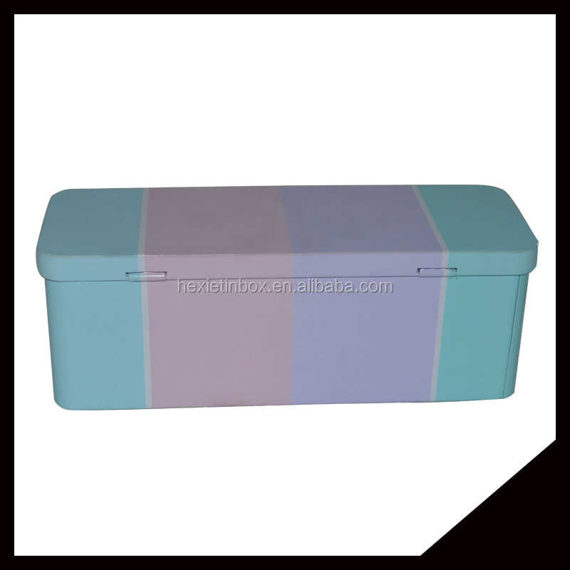 Rectangle Hinged Customized Pretty And Elegant Metal Tin Pencil Box
