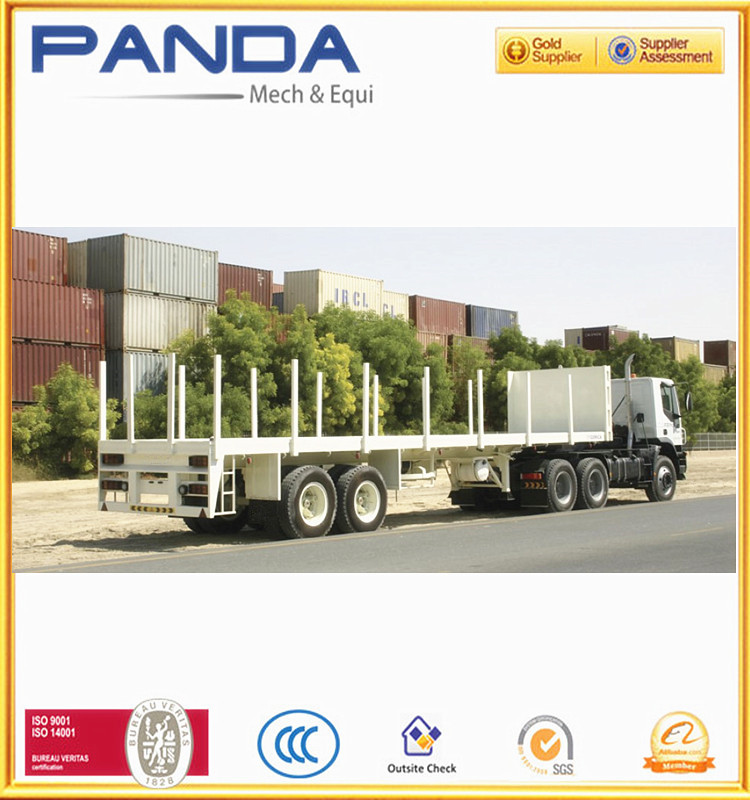 American Type Axle 40ft Flat bed Deck High Bed Platform Shipping Container Truck Semi Trailers