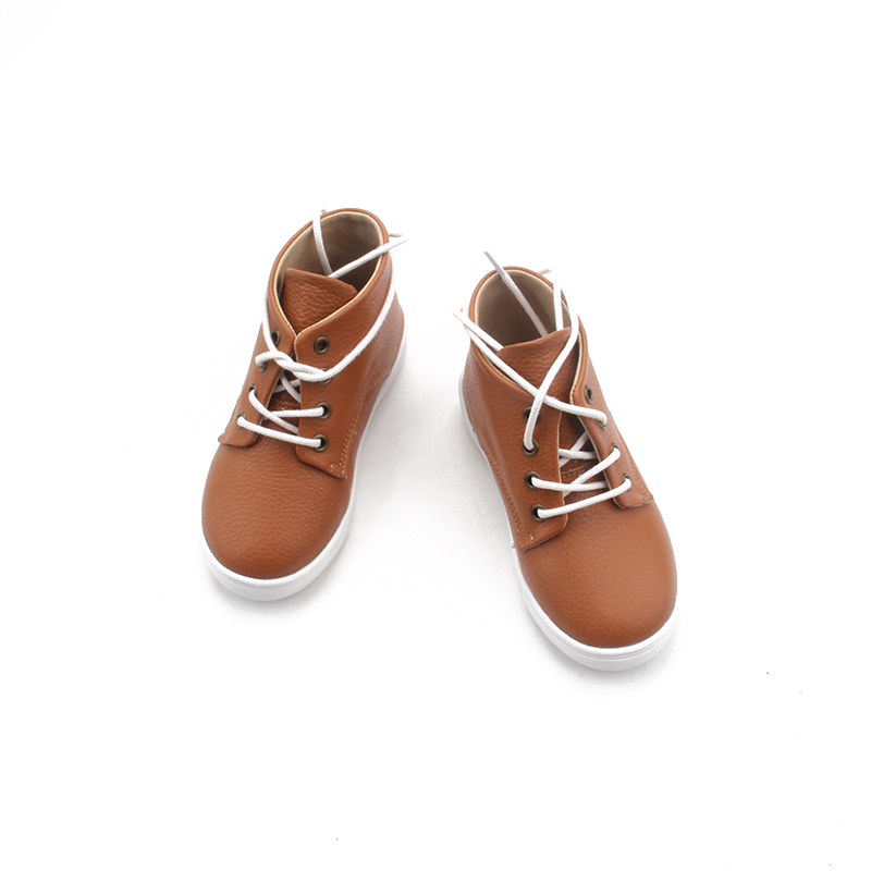 Tanned Leather TPR Sole Lace Up Back Strap Boys Sports Shoes