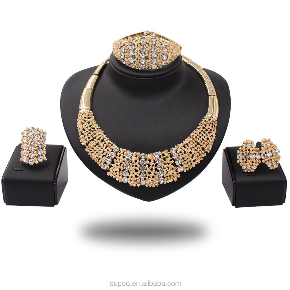 Fashion African Jewelry Set Pure gold -color Filled Dubai Big Necklace Earrings Wedding Jewelry Sets Gift For Women