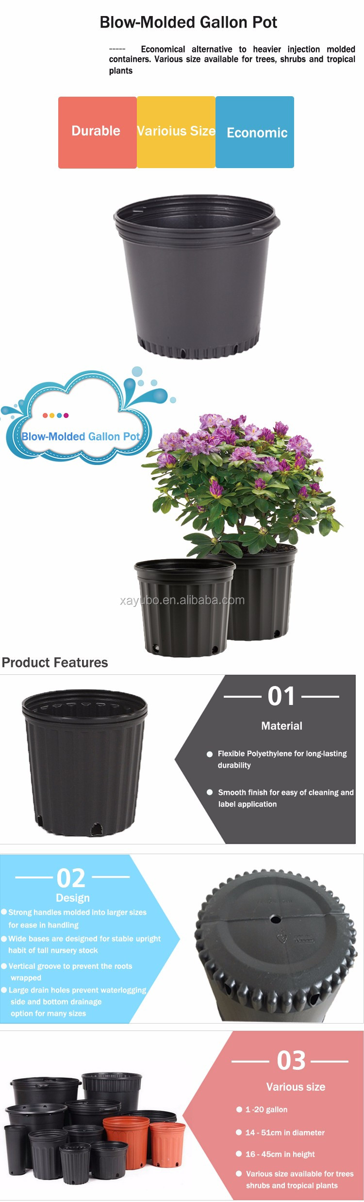 Made in China hdpe black plastic big flower nursery gallon pot for shrubs