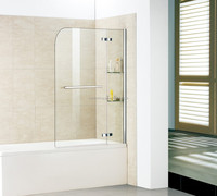 Good quality brass hinged swing bathtub screen shower enclosure with tower rail