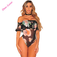 Sexy Floral Printed Off Shoulder Short Sleeve Ruffle Mesh adult latex bodysuit
