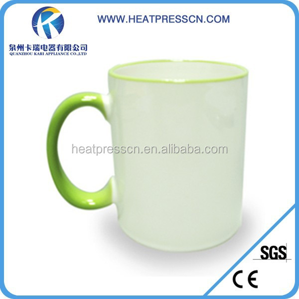 Side Colourful handle ceramic Mug can with any sublimation image