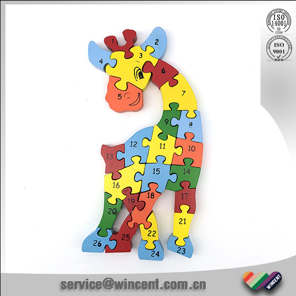 Educational toy Wooden animal number jagsaw puzzle game