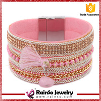 Wholesale Wide Rows Rhinestone Crystal Characteristic Leather Wrap Bracelet