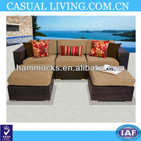 3PCS Rattan Wicker brown colour Sofa Set Outdoor Garden Furniture Cushioned Sofa Set with Ottoman Brown,No Assembly Required