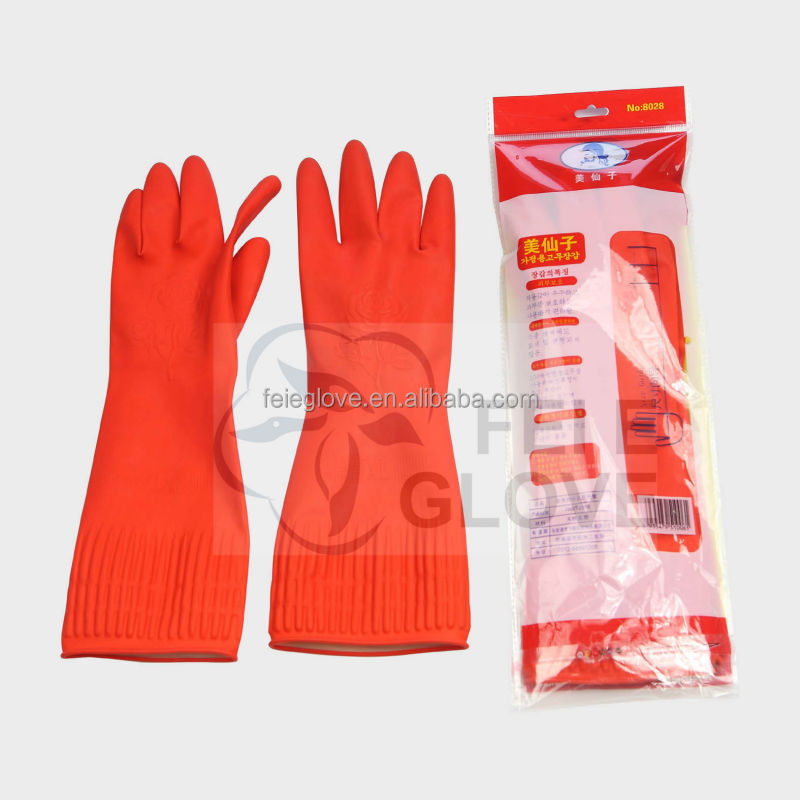 95g L 38cm red colour unlined household goods cleaning gloves <strong>manufacturer</strong>