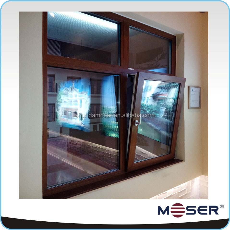 German combination door and window with safety glass and fixed panel