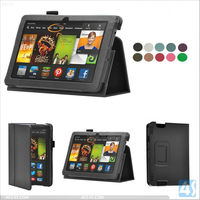 Standing Folio Tablet Leather Case Cover with Pen Slot for Amazon Kindle Fire HDX 7 P-KINDLEFIREHDX7CASE004