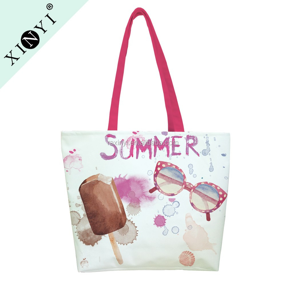 Eco custom logo print promotional shopping bag factory OEM cotton canvas beach tote bag
