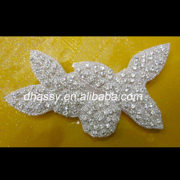Wholesale Sew on Rhinestone Applique Patch For Wedding Dress DH-479