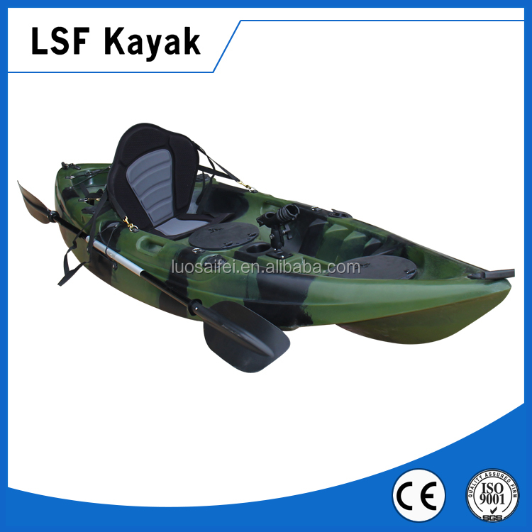 2.95m Single Fishing boat Kayak With 4 Flush Mounted Rod Holder For Sale LLDPE
