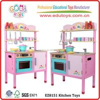 Girl Play Wooden Kitchen Toy, Modern Design Kids Kitchen Toy, Wholesale Pink Toy Kitchen for children