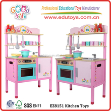 Girl Play Wooden Kitchen Toy, Modern Design Kids Kitchen Toy, Wholesale Pink Toy Kitchen for children