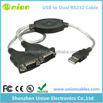 Windows 7-8 Dual Plug & Play RS232 Ports USB To Serial Converter