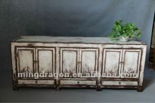 Chinese antique furniture pine wood white Shanxi three drawer six door TV cabinet