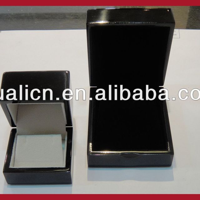2014 hot sale piano black lacquer finish wooden jewelry ring bracelet earring box