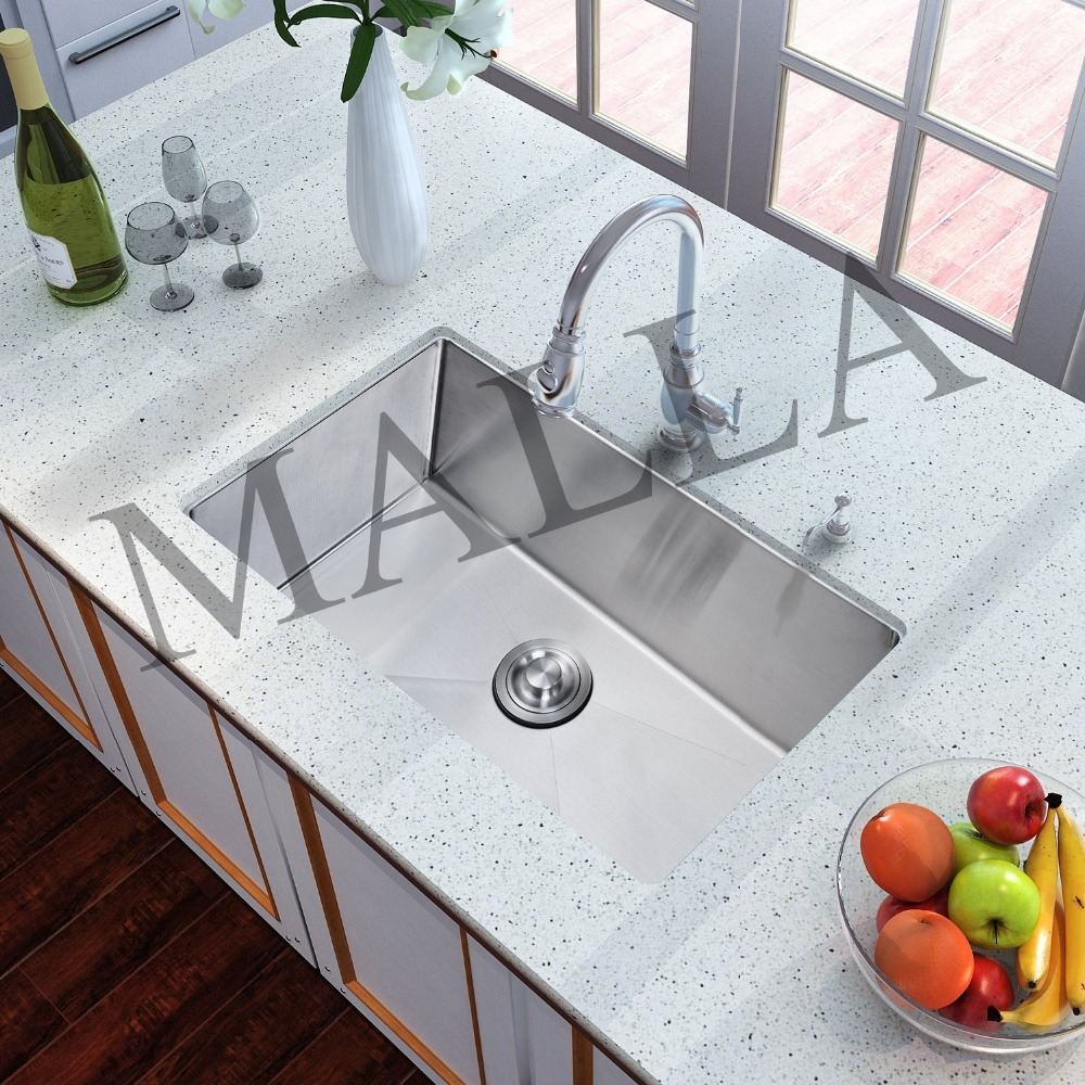 Single Bowl Brushed Surfaace Under Mount Sink Stainless Steel With Shelf