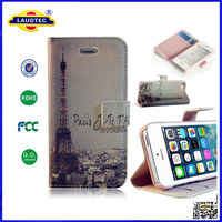 High quality PU Leather Wallet folio flip Case Cover with Credit Card Holder for iPhone 4 4S 5 5S Laudtec