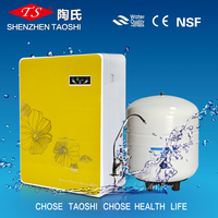 Household appliance water filter machine with storage tank