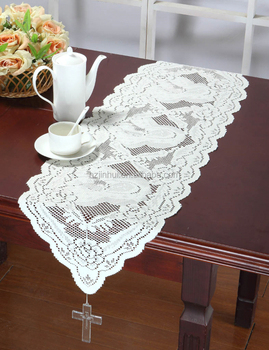 33x114cm Lace Solid table runners three design with tassels and cross for you choose