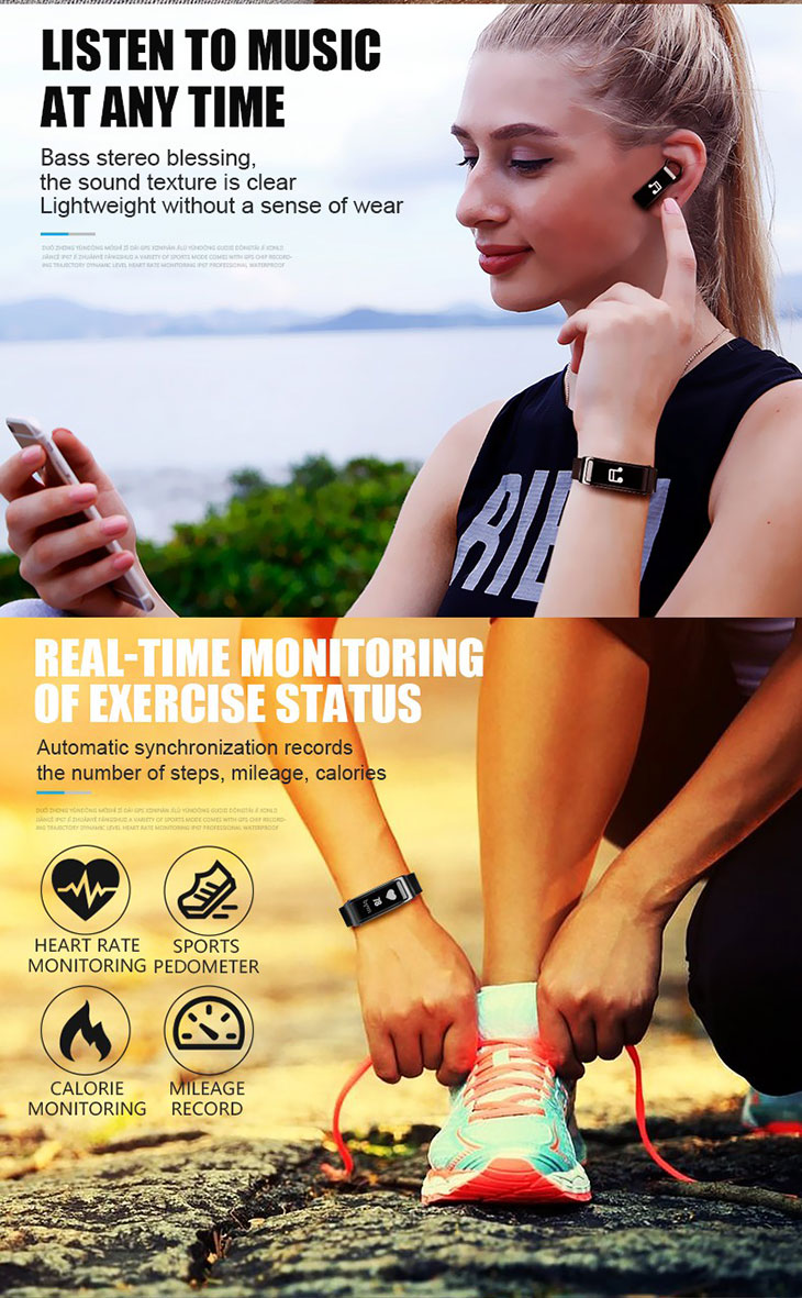 2018 Hot Touch Bracelet y3 ce rohs waterproof smartband with earphone