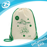 Cheap and Durable Travel Packaging Eco Canvas Cotton Rope Drawstring Backpack Bag