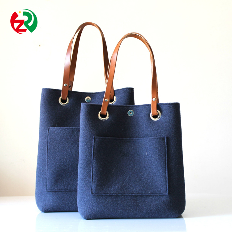 Big size cool daily women <strong>tote</strong> handbag durable fashion leather felt bags customized