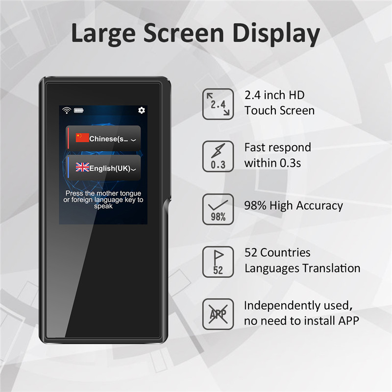 2.4 pollice HD touchscreen Portoghese Spagnolo Olandese 52 lingue traduttore vocale dispositivo