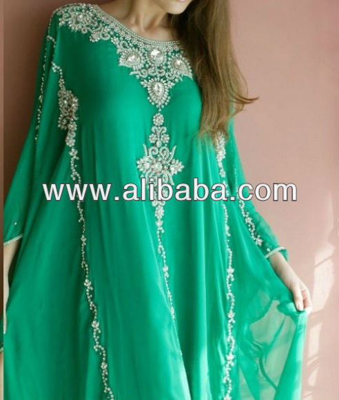 Pearls and Crystal work Designer Green Abayas 2017