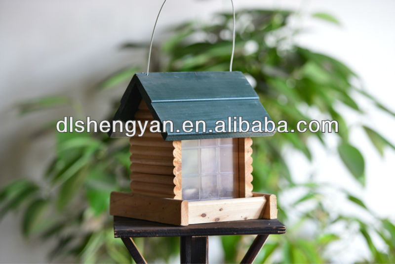 Outdoor Green Roof Wooden Hanging Log Cabin Bird Feeder/Bird House/Bird Cage