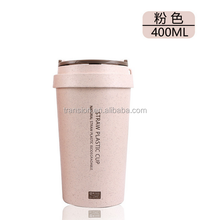 400ml Wheat Straw Cup Coffee Travel Mugs BPA Free Sports Water Bottle Cup with Lid for Tea, Coffee, Milk with Non Slip