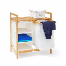 Bathroom bamboo storage shelf laundry hamper with cloth rack