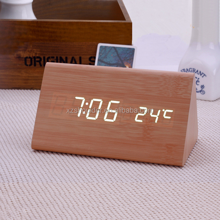 ABS Material and Digital Type wood LED desk alarm clock with different color