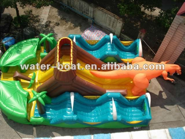 inflatable dinosaur amusement park, inflatable slide combo game, fun city for kids