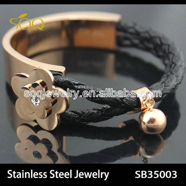 Stainless Steel Rose Gold Plated Flower Charms with CZ Diamond Leather Bracelet