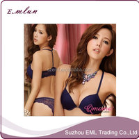 lace beauty small sexy lingerie chest deep V non-trace bra sets