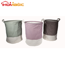 STOCK ITEM !! Split Joint Style Cylinder Cotton linen collapsible laundry basket, laundry hamper with Drawstring