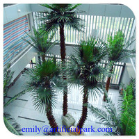 2014 Alibaba certificate made in China factory price home/garden/playground/hall decoration fiberglass artificial palm tree
