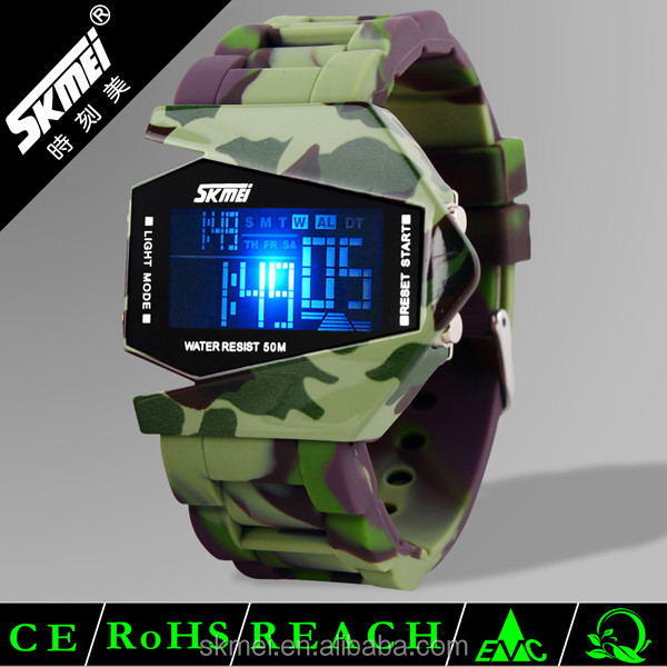 Airplane shaped trendy led sports watch military camouflage watch