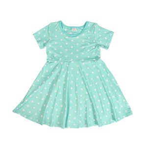 Wholesale kids casual dresses back hollow heart dress dot girls cotton dresses